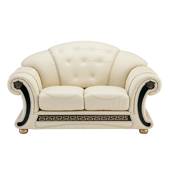 Fortun Leather Loveseat by House of Hampton