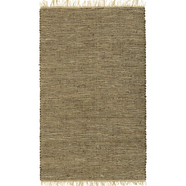 Sandford Leather/Natural Hemp Brown Area Rug by Bungalow Rose