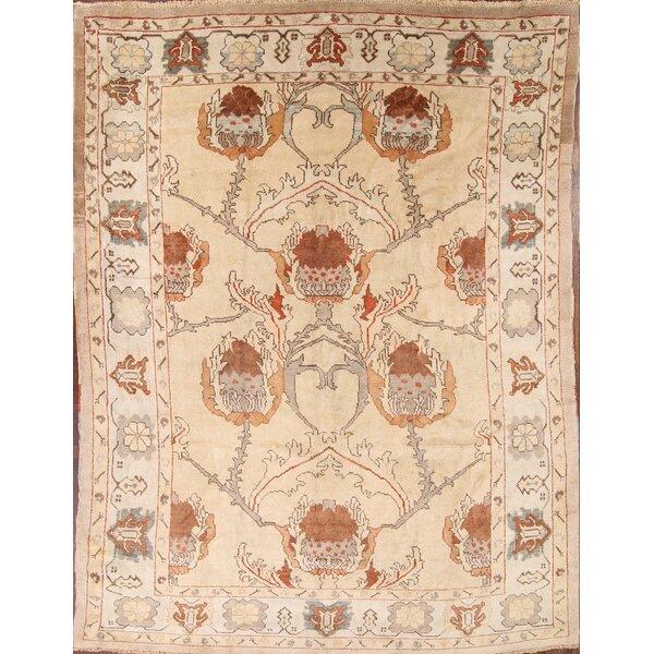Budde Oushak Ushak Oriental Anatolian Hand-Knotted Wool Beige/Ivory Area Rug by Bloomsbury Market