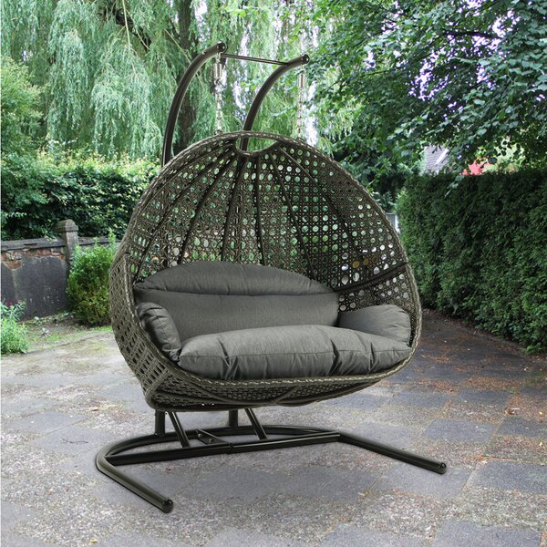 Mauldin Hanging Double Swing Chair with Stand by Bayou Breeze