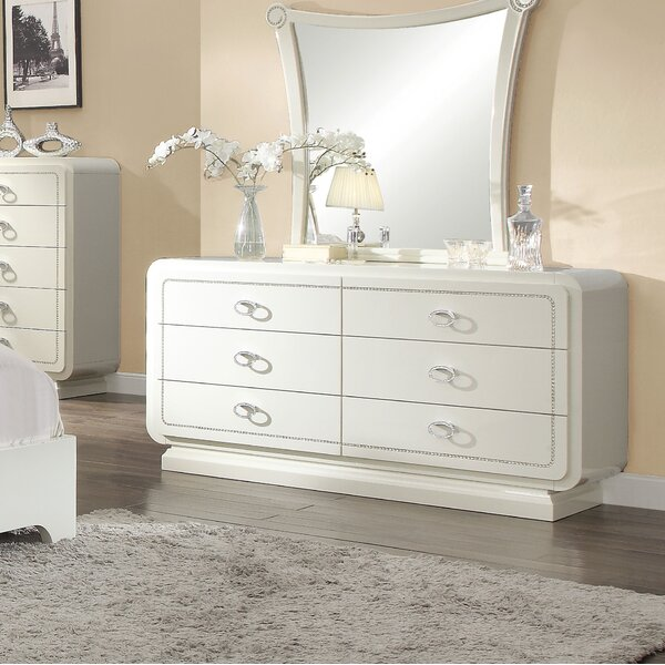 Hassan 6 Drawer Double Dresser with Mirror by Rosdorf Park