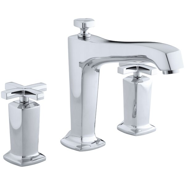 Margaux Deck-Mount Bath Faucet Trim for High-Flow Valve with Non-Diverter Spout and Cross Handles, Valve Not Included by Kohler
