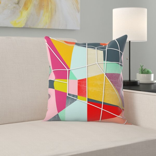 Colorblock V Throw Pillow by East Urban Home