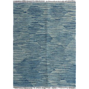 Ackworth Traditional Kilim Hand Woven Wool Rectangle Blue Area Rug