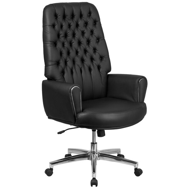 Grissom High Back Traditional Tufted 30.5 Leather Swivel Executive Chair by Orren Ellis