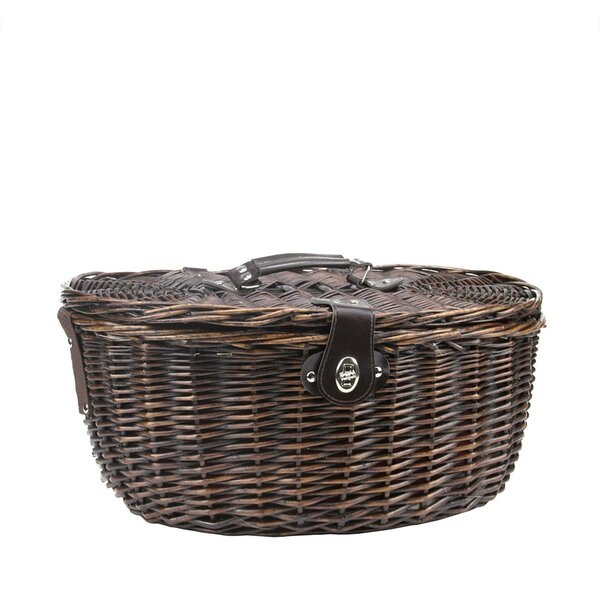 2 Person Hand Woven Sateen Chocolate Willow Picnic Basket by Northlight Seasonal