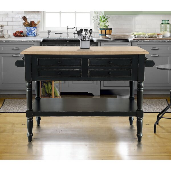 Brookstonval Kitchen Island Solid Wood by Darby Home Co