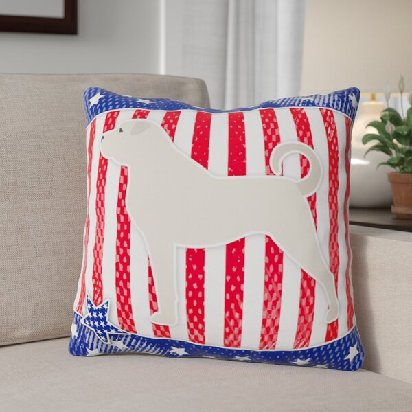 Patriotic Square Solid Pattern Indoor/Outdoor Throw Pillow by The Holiday Aisle