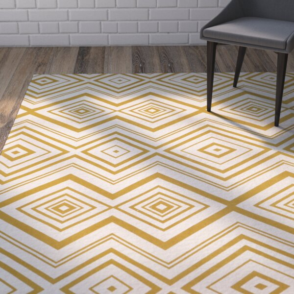Sonny Hand-Woven Cotton Ivory/Citron Area Rug by Wrought Studio