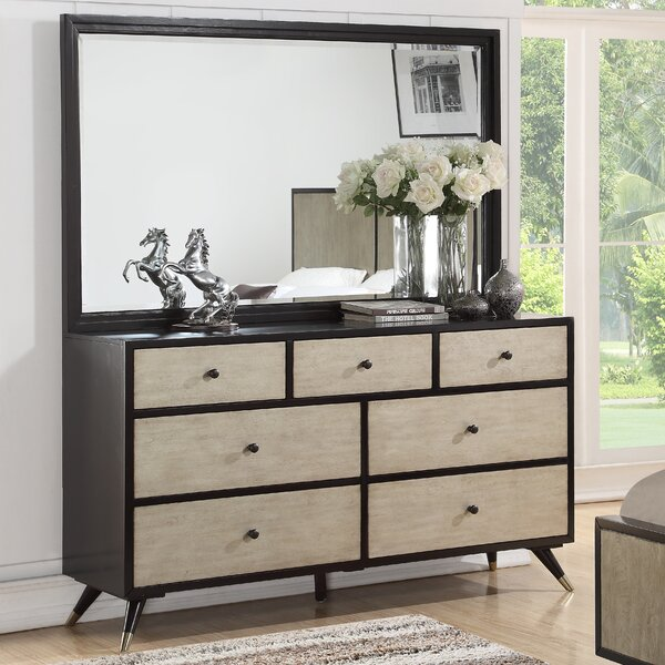 Bobby Mid Century 7 Drawer Double Dresser with Mirror by Corrigan Studio