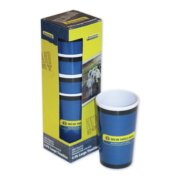 New Holland 16 oz. Plastic Every Day Glass (Set of 4) by MotorHead Products
