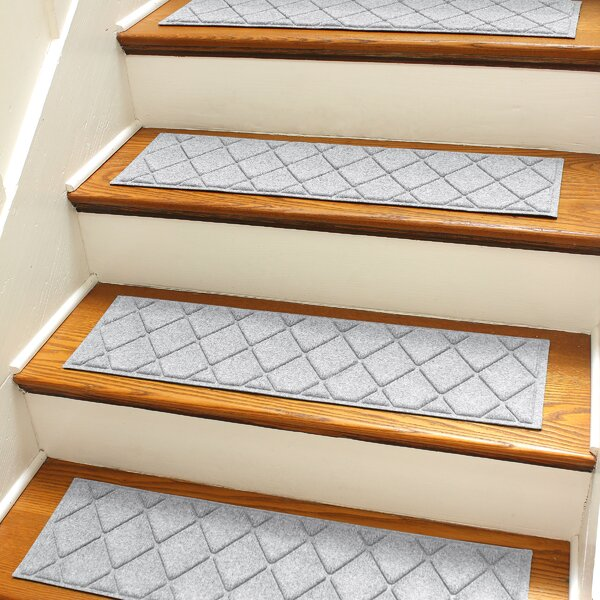 Aqua Shield Gray Argyle Stair Tread (Set of 4) by Bungalow Flooring