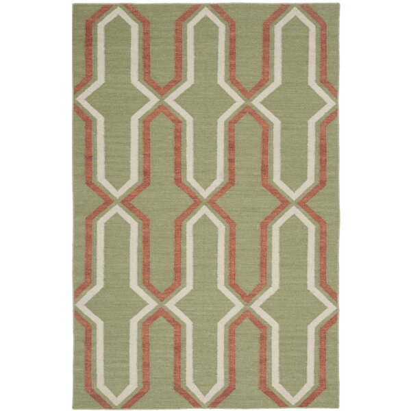 Dhurries Hand-Woven Green/Orange Contemporary Area Rug by Safavieh
