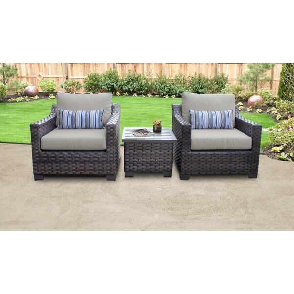 kathy ireland Homes & Gardens River Brook 3 Piece Outdoor Wicker Patio Furniture Set 03a by kathy ireland Homes & Gardens by TK Classics