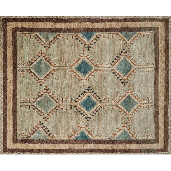 Zacarias Hand-Knotted Beige Area Rug by Bloomsbury Market