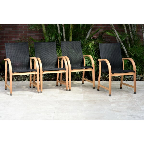 Petit Aluminum 4 Piece Stacking Teak Patio Dining Chair by Wrought Studio
