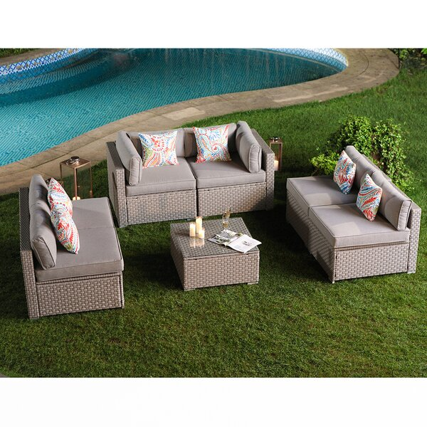 Pelluru 7 Piece Sofa Seating Group with Cushions by Wrought Studio