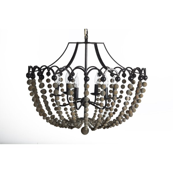 Peter 6 - Light Candle Style Empire Chandelier with Beaded Accents by Gabby Gabby