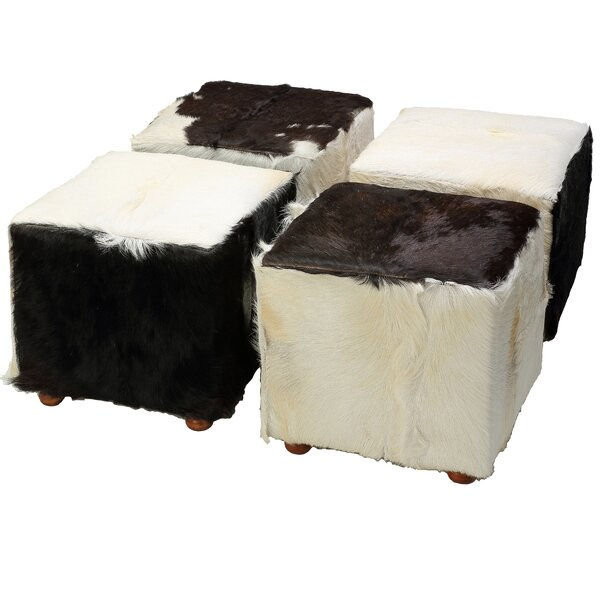 Snowmass Village Leather Cube Ottoman by Loon Peak