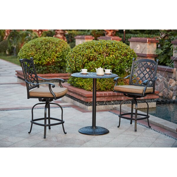 Waconia 3 Piece Bar Height Dining Set with Cushions by Darby Home Co