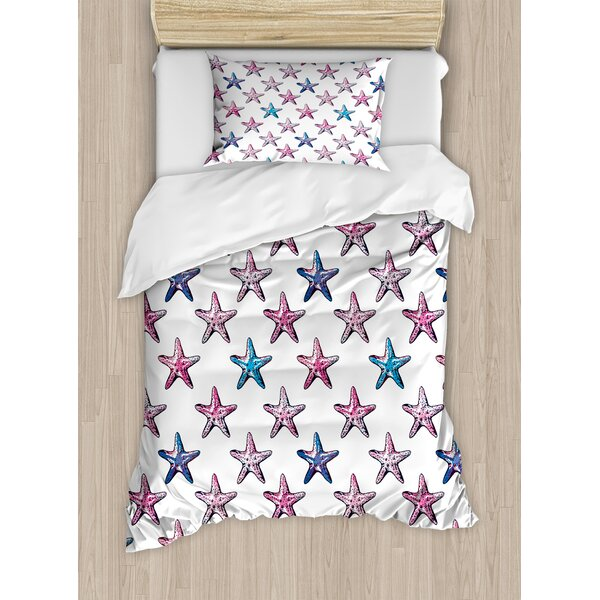 Starfish Vibrant Doodle Style Seastar Pattern Exotic Oceanic Wildlife Colorful Summer Duvet Set by East Urban Home