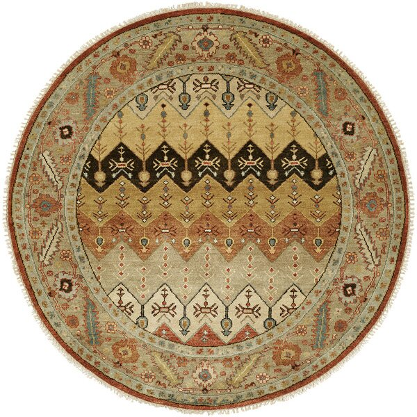 Eilat Hand-Knotted Brown/Gold Area Rug by Wildon Home ®