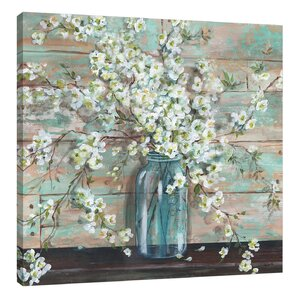 'Blossoms in Mason Jar' by Tre Sorelle Studios Painting Print on Wrapped Canvas by Jaxson Rea