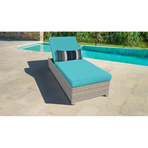 Genevieve Wheeled Outdoor Wicker Reclining Chaise Lounge with Cushion by Rosecliff Heights