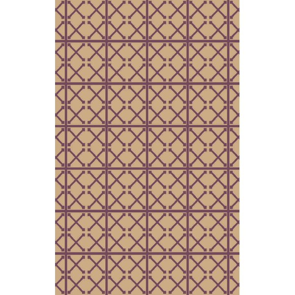 Donaghy Hand-Woven Beige/Magenta Area Rug by Charlton Home