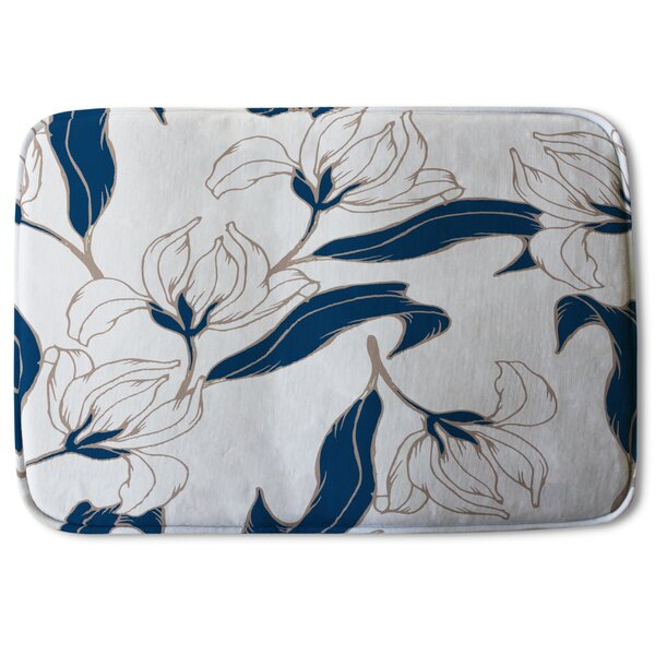 Cotulla Flowers Designer Rectangle Non-Slip Floral Bath Rug