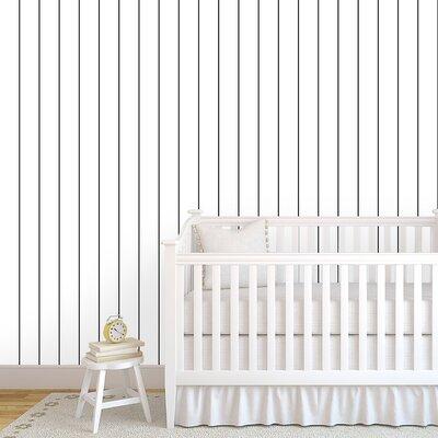 "Elaina Vertical Pinstripes 48"" L x 24"" W Paintable Peel and Stick Wallpaper Panel Breakwater Bay"