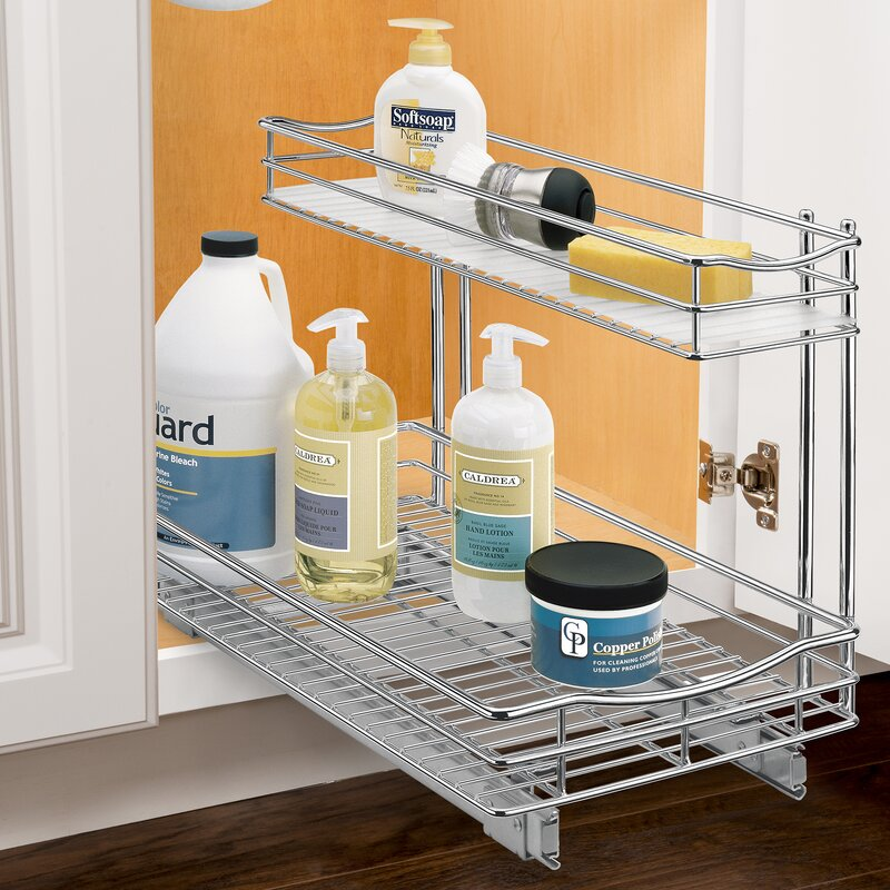 Roll Out Under Sink Cabinet Organizer   Pull Out Two Tier Sliding Shelf    11.5 In