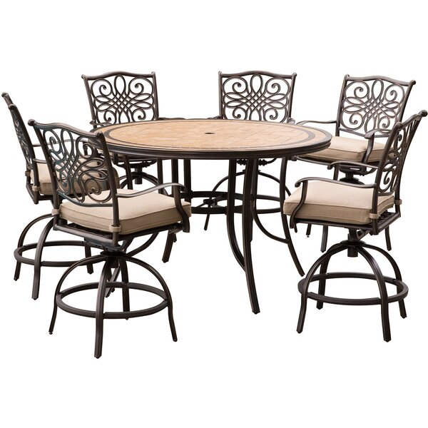 Bucci 7 Piece Dining Set with Cushions by Fleur De Lis Living