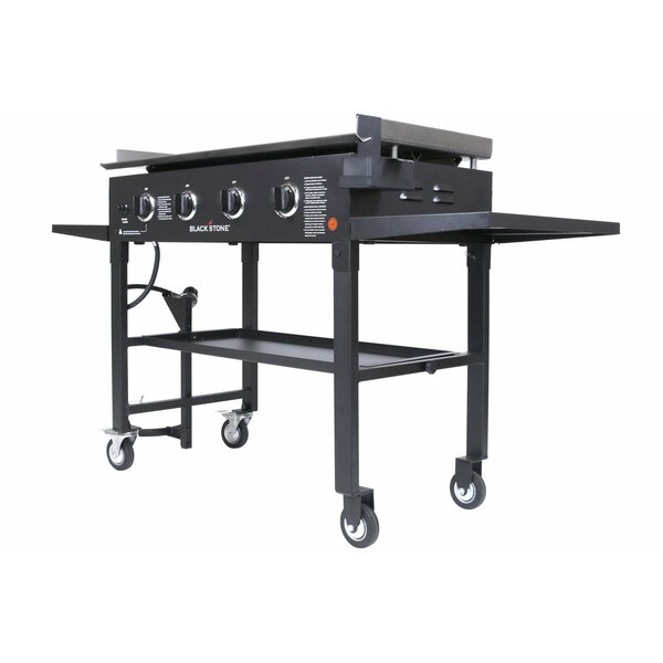 Blackstone 36 Cooking Station 4-Burner Flat top Propane Gas Grill Griddle with Side Shelves by Blackstone