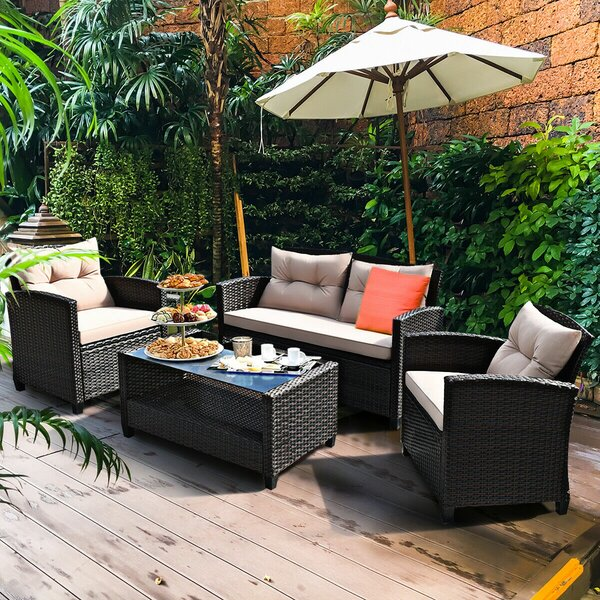 Foxcroft 4 Piece Rattan Sofa Seating Group with Cushions by Ebern Designs