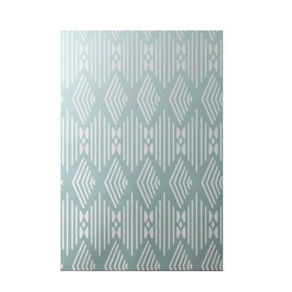 Fishbones Geometric Print Seaside Indoor/Outdoor Area Rug by e by design