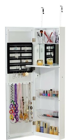 Over the Door Jewelry Armoire with Mirror by Famis Corp