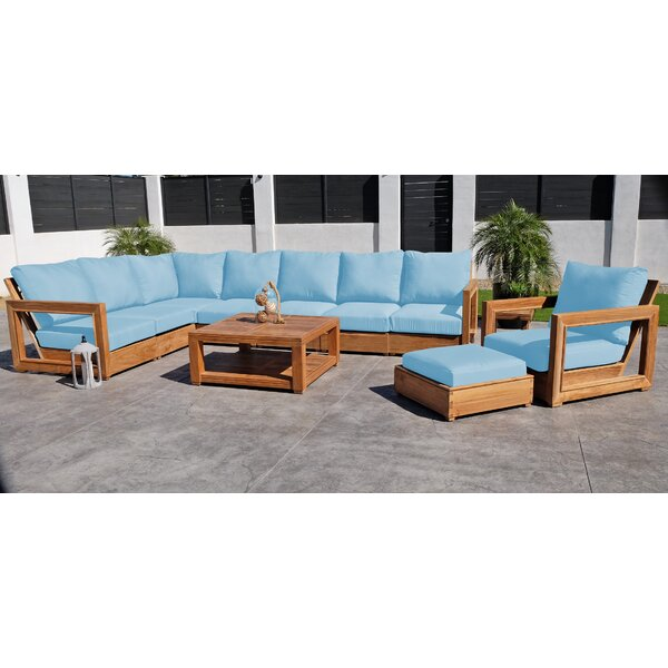 Crelake 11 Piece Teak Sunbrella Sectional Seating Group with Cushions by Foundry Select Foundry Select