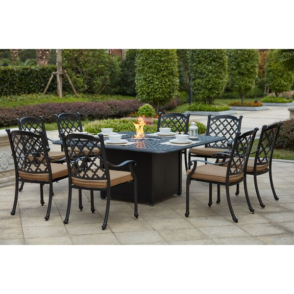 Waconia 9 Piece Metal Frame Dining Set with Cushions by Darby Home Co