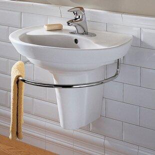 Great choice Ravenna Vitreous China 24 Semi-Pedestal Bathroom Sink with Overflow ByAmerican Standard