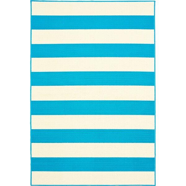 Deverick Stripe Blue/White Indoor/Outdoor Area Rug by Ebern Designs