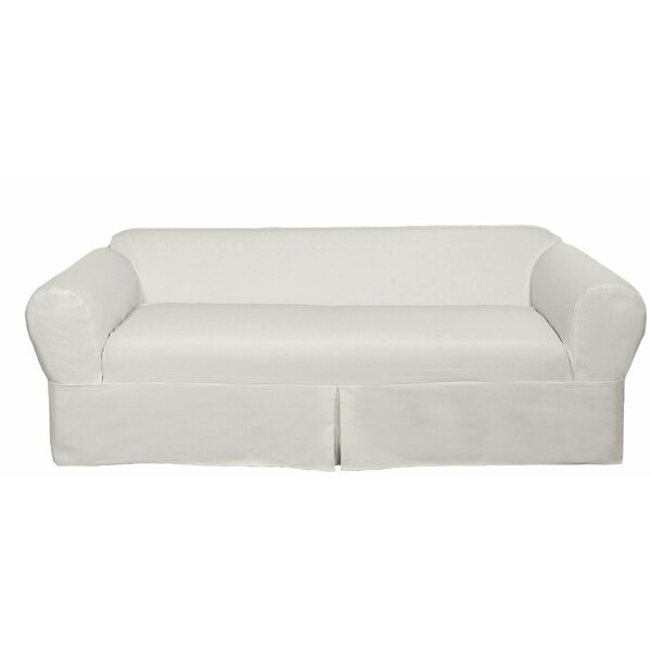 Twill Box Cushion Loveseat Slipcover by Darby Home Co