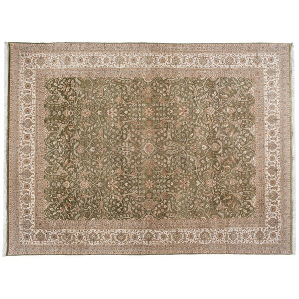 One-of-a-Kind Hand-Knotted Beige/Green 9' x 12'2 Wool Area Rug