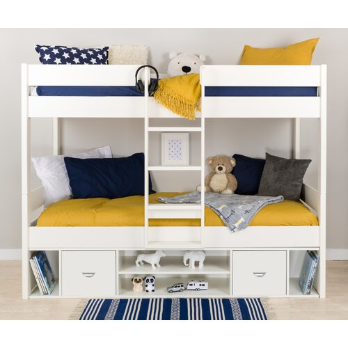 European Single Bunk Bed with Drawers and Shelves Stompa