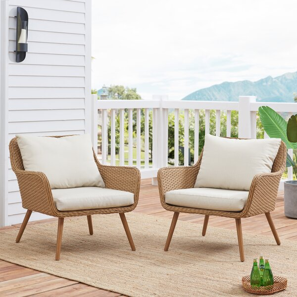 Machen Outdoor Patio Chair with Cushions (Set of 2) by George Oliver