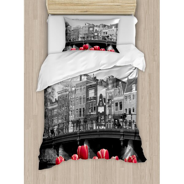 Decorations Monochrome Photo of Amsterdam Canal with Tulips Houses Duvet Set by East Urban Home