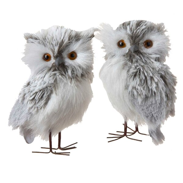 Furry Owl Hanging Figurine Set Of 2 By Kurt Adler.