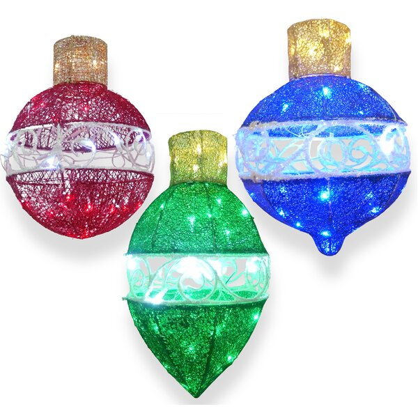3 Piece Ornament Assortment with LED Lights Christmas Decoration Set by National Tree Co.