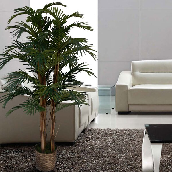 Tall High End Realistic Silk Floor Palm Tree in Planter by Bloomsbury Market
