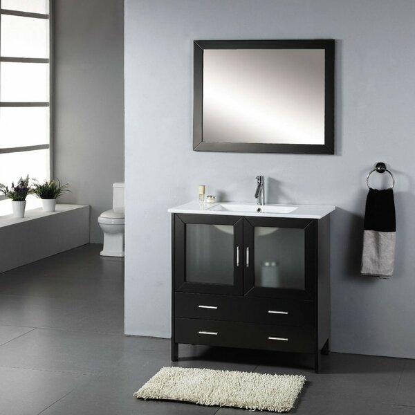 Stricker 35 Single Bathroom Vanity Set with Ceramic Top and Mirror by Ebern Designs